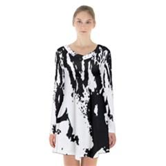 Lion  Long Sleeve Velvet V-neck Dress