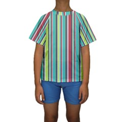Colorful Striped Background. Kids  Short Sleeve Swimwear