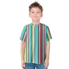 Colorful Striped Background. Kids  Cotton Tee