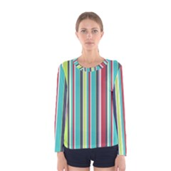 Colorful Striped Background. Women s Long Sleeve Tee