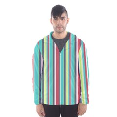 Colorful Striped Background. Hooded Wind Breaker (Men)