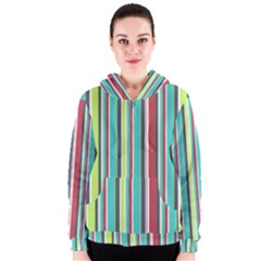 Colorful Striped Background. Women s Zipper Hoodie