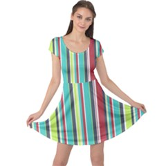 Colorful Striped Background. Cap Sleeve Dresses