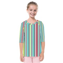 Colorful Striped Background. Kids  Quarter Sleeve Raglan Tee