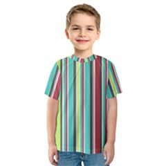 Colorful Striped Background. Kids  Sport Mesh Tee