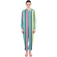 Colorful Striped Background. Hooded Jumpsuit (Ladies)