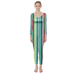 Colorful Striped Background. Long Sleeve Catsuit