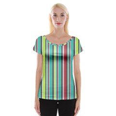 Colorful Striped Background. Women s Cap Sleeve Top