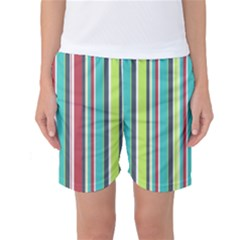 Colorful Striped Background. Women s Basketball Shorts