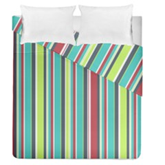 Colorful Striped Background. Duvet Cover Double Side (Queen Size)
