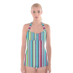Colorful Striped Background. Boyleg Halter Swimsuit