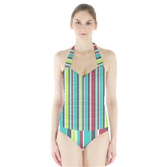 Colorful Striped Background. Halter Swimsuit