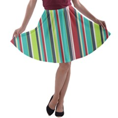 Colorful Striped Background. A-line Skater Skirt