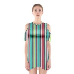 Colorful Striped Background. Shoulder Cutout One Piece