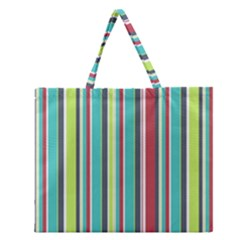 Colorful Striped Background. Zipper Large Tote Bag