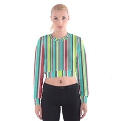 Colorful Striped Background. Cropped Sweatshirt