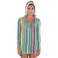 Colorful Striped Background. Women s Long Sleeve Hooded T-shirt