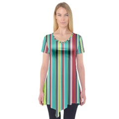 Colorful Striped Background. Short Sleeve Tunic