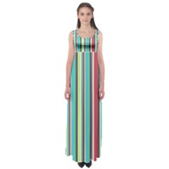 Colorful Striped Background. Empire Waist Maxi Dress