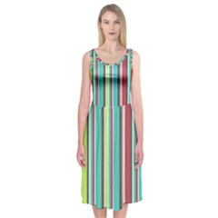 Colorful Striped Background. Midi Sleeveless Dress