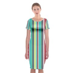 Colorful Striped Background. Classic Short Sleeve Midi Dress