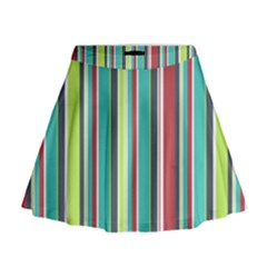 Colorful Striped Background. Mini Flare Skirt