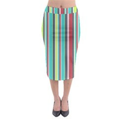 Colorful Striped Background. Midi Pencil Skirt