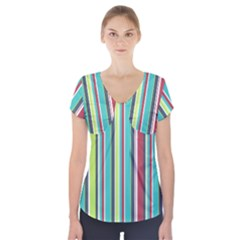 Colorful Striped Background. Short Sleeve Front Detail Top