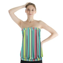 Colorful Striped Background. Strapless Top