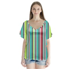 Colorful Striped Background. Flutter Sleeve Top