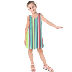Colorful Striped Background. Kids  Sleeveless Dress