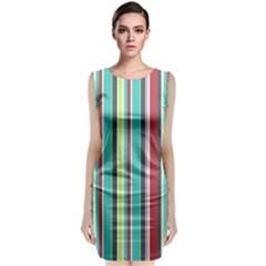 Colorful Striped Background. Sleeveless Velvet Midi Dress
