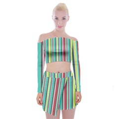 Colorful Striped Background. Off Shoulder Top with Skirt Set