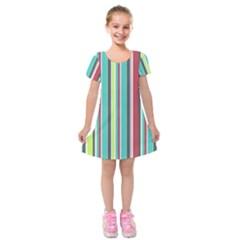 Colorful Striped Background. Kids  Short Sleeve Velvet Dress