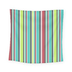 Colorful Striped Background. Square Tapestry (Small)