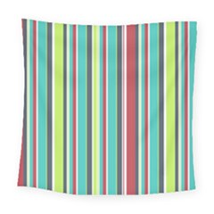 Colorful Striped Background. Square Tapestry (Large)