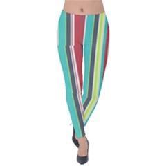 Colorful Striped Background. Velvet Leggings