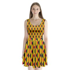 Triangles pattern Split Back Mini Dress