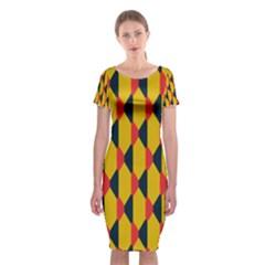 Triangles pattern Classic Short Sleeve Midi Dress