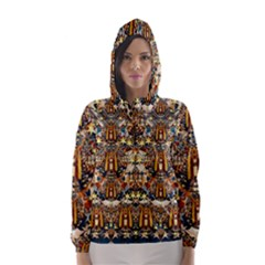Lady Panda Goes Into The Starry Gothic Night Hooded Wind Breaker (Women)