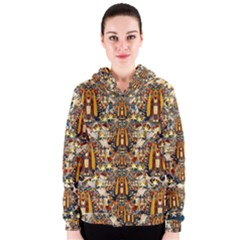 Lady Panda Goes Into The Starry Gothic Night Women s Zipper Hoodie