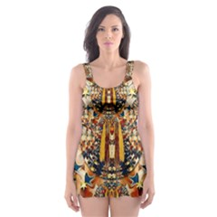 Lady Panda Goes Into The Starry Gothic Night Skater Dress Swimsuit