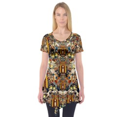 Lady Panda Goes Into The Starry Gothic Night Short Sleeve Tunic