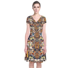 Lady Panda Goes Into The Starry Gothic Night Short Sleeve Front Wrap Dress