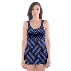 WOV2 BK-MRBL BL-BRSH Skater Dress Swimsuit