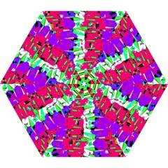 Colorful Glitch Pattern Design Mini Folding Umbrellas