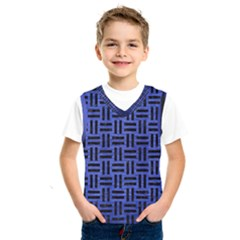 Woven1 Black Marble & Blue Brushed Metal (r) Kids  Basketball Tank Top