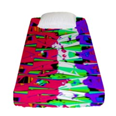 Colorful Glitch Pattern Design Fitted Sheet (Single Size)