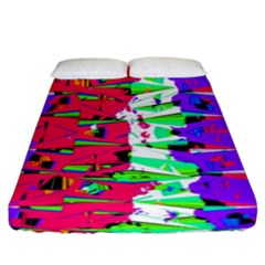 Colorful Glitch Pattern Design Fitted Sheet (King Size)