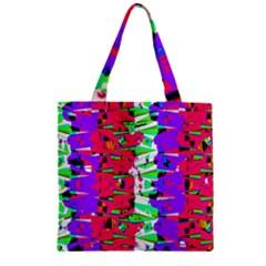 Colorful Glitch Pattern Design Zipper Grocery Tote Bag
